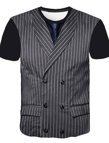 Bărbați Tricouri Tricou Tipărire 3D Grafic Abstract #D Imprimeu Manșon scurt Ieșire Topuri Afacere Șic Stradă Comfortabil Mare si inalt Rotund Mov Trifoi Gri Închis / Muncă