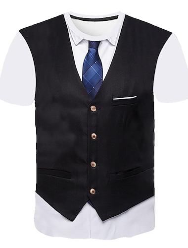 Bărbați Tricou Grafic Abstract #D Imprimeu Manșon scurt Ieșire Topuri Afacere Șic Stradă Rotund Roșu Vin Gri Deschis Negru / Muncă