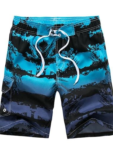 Pánské Šortky na plážovou desku Plavky Šněrování Tisk Geometrický Tropický vzhled Vodní modrá Trávová zelená Plavky Plavky