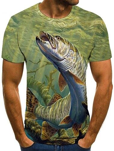 Herre T-shirt Skjorte Farveblok 3D Dyr Plusstørrelser Kortærmet Daglig Toppe Basale Rund hals Grøn