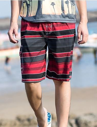 Pánské Šortky na plážovou desku Plavky Šněrování Tisk Proužky Barevné bloky Vodní modrá Trávová zelená Rubínově červená Plavky Plavky