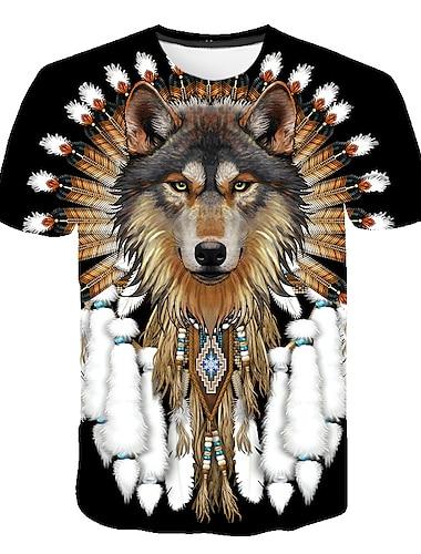 Men\'s T shirt Shirt Graphic Animal Plus Size Print Short Sleeve Daily Tops Basic Round Neck Black