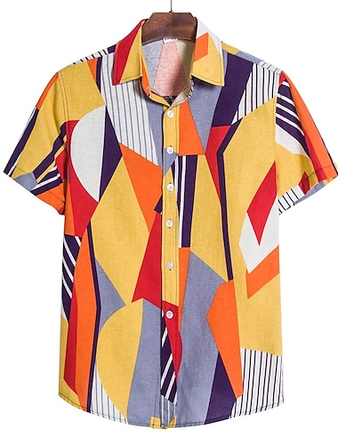 Men\'s Shirt Floral Color Block Geometric Print Short Sleeve Party Tops Tropical Purple Yellow Blushing Pink