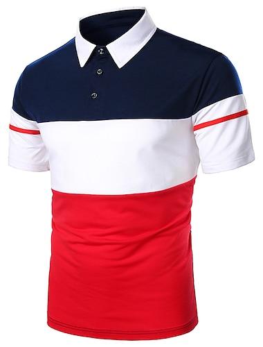 Bărbați Cămașă de golf Cămașă de tenis Dungi Peteci Manșon scurt Zilnic Topuri De Bază Casul / Zilnic Casual / Sport Guler Cămașă Roșu-aprins Bleumarin / Muncă