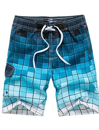 Pánské Šortky na plážovou desku Plavky Šněrování Tisk Barevné bloky Vodní modrá Šedá Trávová zelená Plavky Plavky