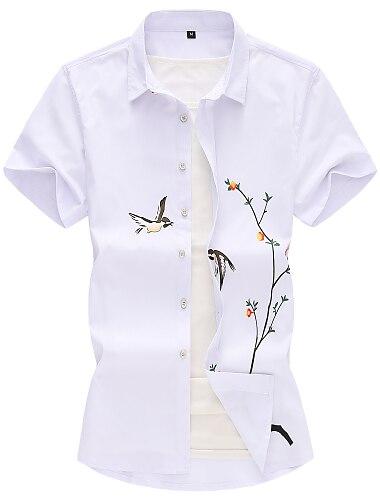 男性用 シャツ フラワー ソリッド 3D 半袖 日常 トップの ベーシック エレガント ホワイト ブラック ライトブルー