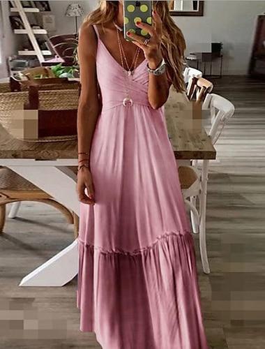 Women\'s A Line Dress Maxi long Dress Blue Purple Yellow Blushing Pink Wine Gray Sleeveless Solid Color Pleated Summer V Neck S M L XL XXL 3XL 4XL 5XL / Plus Size / Plus Size