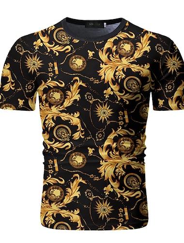 Homens Camiseta Camisa Social Geometrica Manga Curta Diario Blusas Decote Redondo Preto