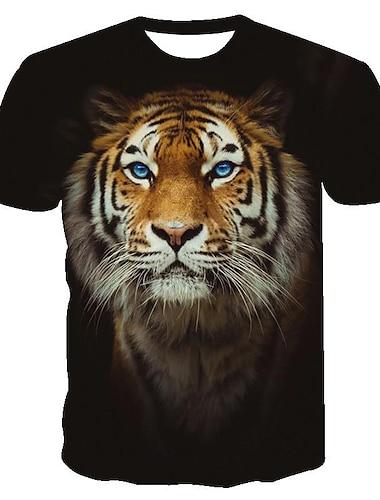 Pánské Trička Tričko Košile 3D tisk Kočka Grafika Tygr Zvíře Tisk Krátký rukáv Denní Topy Základní Pohodlné Velký a vysoký Kulatý Žlutá Stříbrná Černá