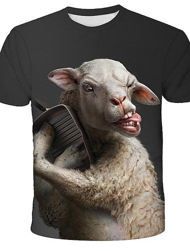 T-shirt Homme Graphique 3D Animal Imprime Manches Courtes Quotidien Vacances Standard Spandex Chic de Rue Exagere Col Rond