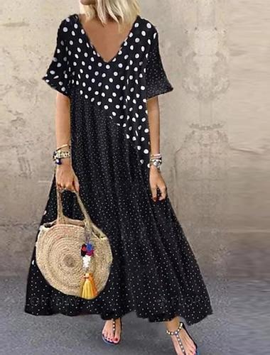 Γυναικεία Φόρεμα μέχρι το γόνατο Μαύρο Κοντομάνικο Πουά Καλοκαίρι Λαιμόκοψη V καυτό M L XL XXL 3XL 4XL 5XL / Μακρύ
