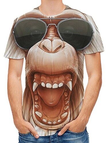 Herren Tee T-Shirt 3D-Druck Grafik 3D Affe Orang-Utan UEbergroessen Druck Kurzarm Alltag Oberteile Rockig Street Schick Rundhalsausschnitt Gelb Rosa Gold / Fruehling / Sommer / Klub