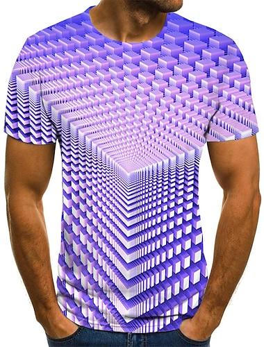 Муж. Футболки Футболка Рубашка Графика Геометрический принт 3D Большие размеры С принтом С короткими рукавами Праздники Верхушки Классический Оригинальный рисунок Уличный стиль преувеличены