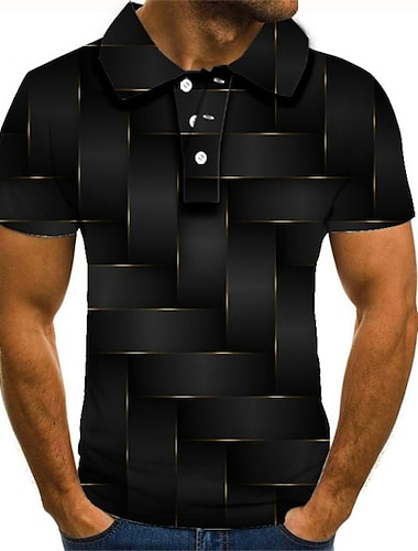 Męskie Koszula golfowa Koszula tenisowa Graficzny Puszysta Krótki rękaw Codzienny Szczupła Najfatalniejszy Moda miejska Przesadny Kołnierzyk koszuli Tęczowy