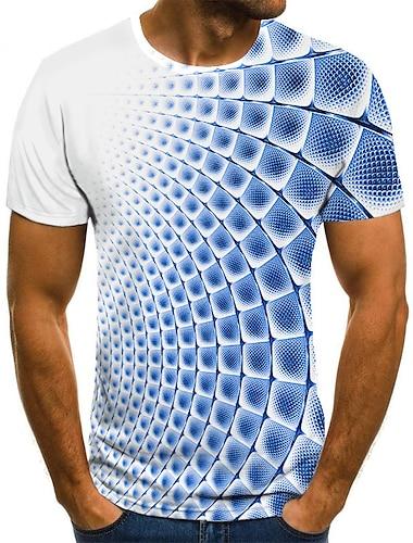 Bărbați Tricou Cămașă Grafic #D Mărime Plus Imprimeu Manșon scurt Ieșire Topuri Șic Stradă Exagerat Rotund Albastru piscină Mov Galben