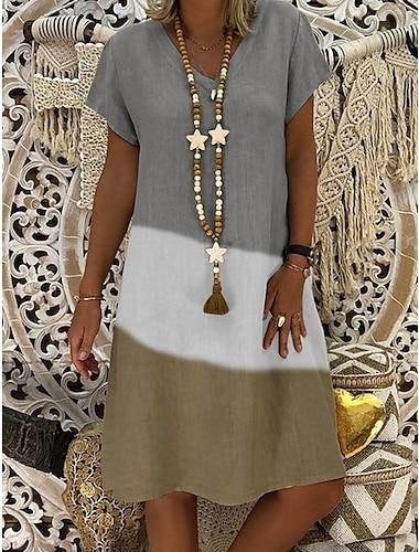 Women\'s A Line Dress Knee Length Dress Gray Black Red Short Sleeve Color Block Summer V Neck Hot Casual 2021 S M L XL XXL 3XL 4XL 5XL / Plus Size / Plus Size