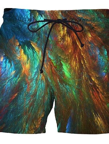 Hombre Deportivo Exagerado Pantalones de Deporte Bermudas Talla Grande Pitillo Pantalones Diseno Geometrico de impresion en 3D 3D Corto Estampado Arco Iris