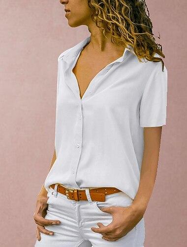 Dámské Větší velikosti Halenka Košile Bez vzoru Jednobarevné Košilový límec Topy Bílá Černá Žlutá