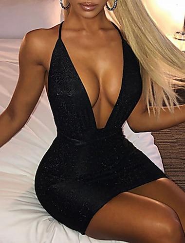Γυναικεία Φόρεμα με λεπτή τιράντα Μίνι φόρεμα Ανθισμένο Ροζ Μαύρο Μπεζ Αμάνικο Συμπαγές Χρώμα Εξώπλατο Άνοιξη Καλοκαίρι Βαθύ V Πάρτι καυτό Σέξι Πάρτι Εξόδου Λεπτό 2021 Τ M L XL