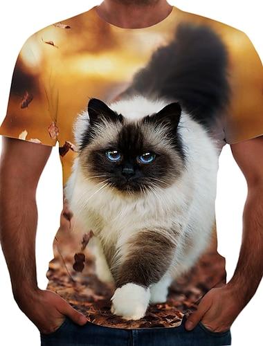 T-shirt Chemise Homme Bloc de Couleur 3D Animal Grandes Tailles Manches Courtes Sortie Fin de semaine Standard Nylon Rayonne Polyester basique Col Rond