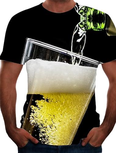 בגדי ריקוד גברים חולצה קצרה חולצה קולור בלוק 3D בירה מידות גדולות שרוולים קצרים ליציאה צמרות בסיסי צווארון עגול צהוב