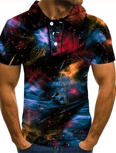 Męskie Koszula golfowa Koszula tenisowa Graficzny 3D Puszysta Krótki rękaw Codzienny Regularny Najfatalniejszy Moda miejska Przesadny Kołnierzyk koszuli Tęczowy