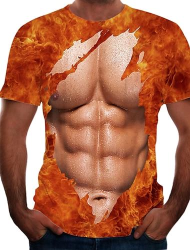 Herre T-shirt Skjorte Farveblok 3D Simulering Plusstørrelser Trykt mønster Kortærmet Daglig Toppe Basale Gade Rund hals Brun / Sport