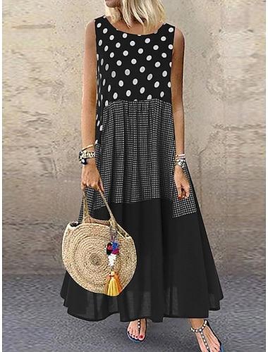 Γυναικεία Φόρεμα σε γραμμή Α Μακρύ φόρεμα Κίτρινο Μαύρο Ρουμπίνι Αμάνικο Πουά Κουρελού Καλοκαίρι Στρογγυλή Λαιμόκοψη καυτό Καθημερινό Αργίες Φαρδιά 2021 M L XL XXL 3XL 4XL 5XL / Μεγάλα Μεγέθη