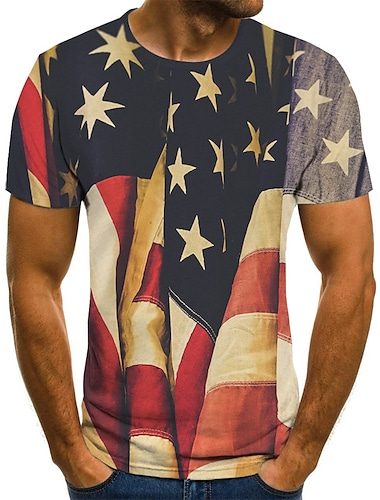Men\'s Tee T shirt Shirt 3D Print American Flag Independence Day National Flag Print Short Sleeve Daily Tops Comfortable Big and Tall Round Neck Lake blue Dark Pink Blue