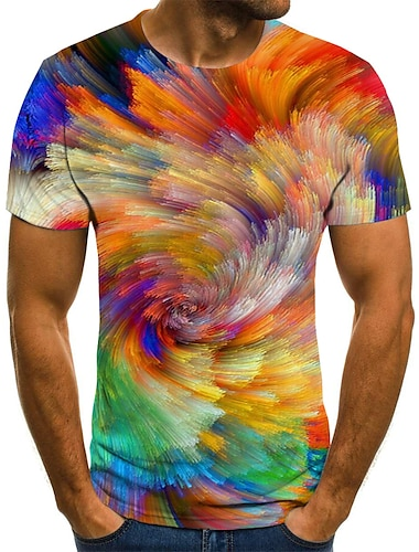 Men\'s T shirt Shirt Graphic Geometric 3D Plus Size Pleated Print Short Sleeve Daily Tops Streetwear Exaggerated Round Neck Rainbow