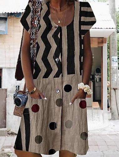 Women\'s A Line Dress Short Mini Dress Blue Wine Khaki Light gray Dark Gray Short Sleeve Polka Dot Striped Print Summer Round Neck Hot Casual 2021 S M L XL XXL 3XL 4XL 5XL