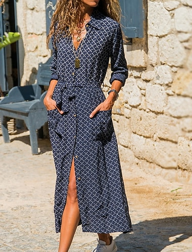여성용 셔츠 드레스 맥시 드레스 카키 클로버 오렌지 루비 네이비 블루 긴 소매 줄무늬 기하학적 레이스 -업 주머니 단추 봄 여름 셔츠 카라 세련 작업 / 오피스 뜨거운 휴가 드레스 2021 S M L XL XXL 3XL / 프린트