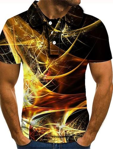 Męskie Koszula golfowa Koszula tenisowa Druk 3D Graficzny Puszysta Krótki rękaw Codzienny Szczupła Najfatalniejszy Moda miejska Przesadny Kołnierzyk koszuli Tęczowy