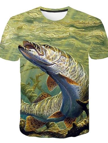 Herre T-shirt Skjorte Geometrisk 3D Plusstørrelser Trykt mønster Kortærmet Daglig Toppe Basale Gade Rund hals Gul