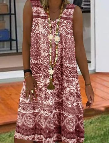 Γυναικεία Φόρεμα ριχτό Μίνι φόρεμα Βυσσινί Κρασί Γκρίζο Μπλε Απαλό Αμάνικο Φυλής Καλοκαίρι Λαιμόκοψη V Καθημερινό 2021 Τ M L XL XXL 3XL 4XL 5XL