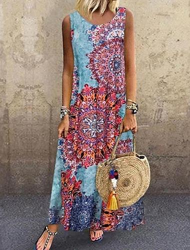 Γυναικεία Μακρύ φόρεμα Μπλε Απαλό Αμάνικο Φυλής Στάμπα Καλοκαίρι Στρογγυλή Λαιμόκοψη καυτό Καθημερινό Αργίες 2021 Τ M L XL XXL 3XL 4XL 5XL