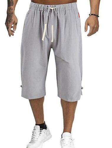 Bărbați De Bază Șic Stradă Confort chinez Pantaloni Scurți Mărime Plus Pantaloni Mată Cordon Gri Trifoi Negru Bleumarin / Vară