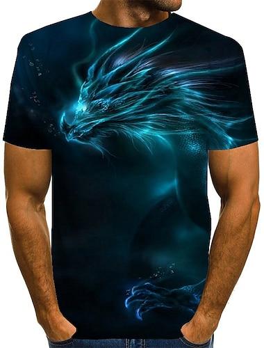 Homens Camiseta Camisa Social Grafico 3D impressao Tamanhos Grandes Estampado Manga Curta Diario Blusas Basico Exagerado Decote Redondo Azul Roxo Verde