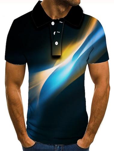 男性用 ゴルフシャツ テニスシャツ グラフィック 半袖 日常 スリム トップの ベーシック ブルー パープル グリーン