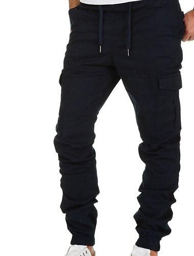 Herren Grundlegend Chinesisch Schlank Hose Einfarbig In voller Laenge Grau Khaki Gruen Schwarz Marineblau