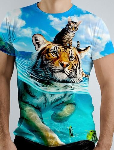 Men\'s Tee T shirt Shirt 3D Print Graphic Tiger Animal Short Sleeve Causal Tops Basic Blue Navy Blue Green