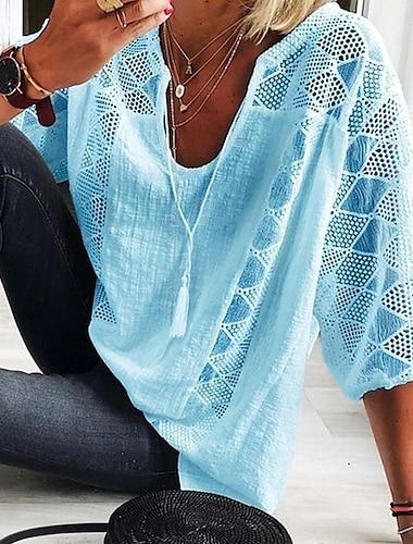 Γυναικεία Μπλούζα Κορυφή ματιών Πουκάμισο Καρό Τετράγωνο Καρό Λαιμόκοψη V Άριστος Λευκό Μπλε Απαλό