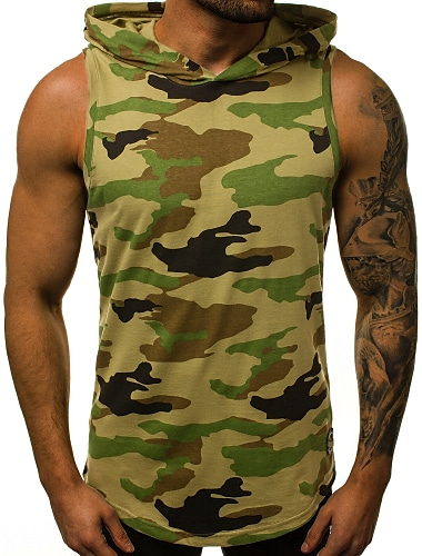 Per uomo Canotte Camicia Camouflage Alfabetico Con stampe Senza maniche Sport Top Essenziale Militare Con cappuccio Verde militare Grigio