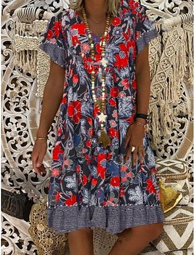 Γυναικεία Φόρεμα ριχτό Φόρεμα μέχρι το γόνατο Ρουμπίνι Κοντομάνικο Φλοράλ Άνοιξη Καλοκαίρι Στρογγυλή Λαιμόκοψη καυτό Κομψό 2021 M L XL XXL 3XL 4XL 5XL