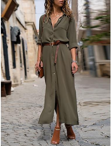 Women\'s Shirt Dress Maxi long Dress Army Green Black Navy Blue Long Sleeve Solid Color Button Spring Summer Shirt Collar Work Hot Formal vacation dresses Loose 2021 S M L XL / Chiffon