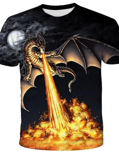 Hombre Camiseta Camisa Grafico Fuego Estampado Manga Corta Diario Tops Chic de Calle Exagerado Escote Redondo Arco Iris