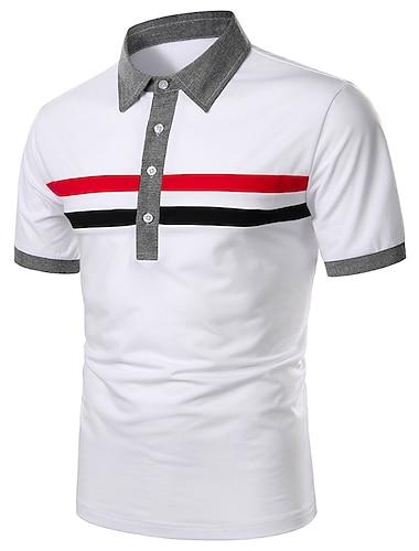 Bărbați Cămașă de golf Cămașă de tenis Dungi Peteci Manșon scurt Zilnic Topuri De Bază Alb Bleumarin / Muncă