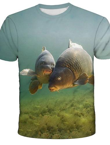 Herre T-shirt Skjorte Grafisk Dyr Trykt mønster Kortærmet Daglig Toppe Gade overdrevet Rund hals Regnbue