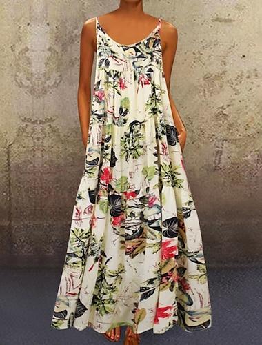 Γυναικεία Φόρεμα με λεπτή τιράντα Μακρύ φόρεμα Κίτρινο Ρουμπίνι Αμάνικο Φλοράλ Καλοκαίρι καυτό Καθημερινό 2021 M L XL XXL 3XL 4XL 5XL