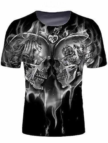 Ανδρικά Μπλουζάκι Γραφική Νεκροκεφαλές Κοντομάνικο Καθημερινά Άριστος Βασικό Κομψό Στρογγυλή Λαιμόκοψη Μαύρο